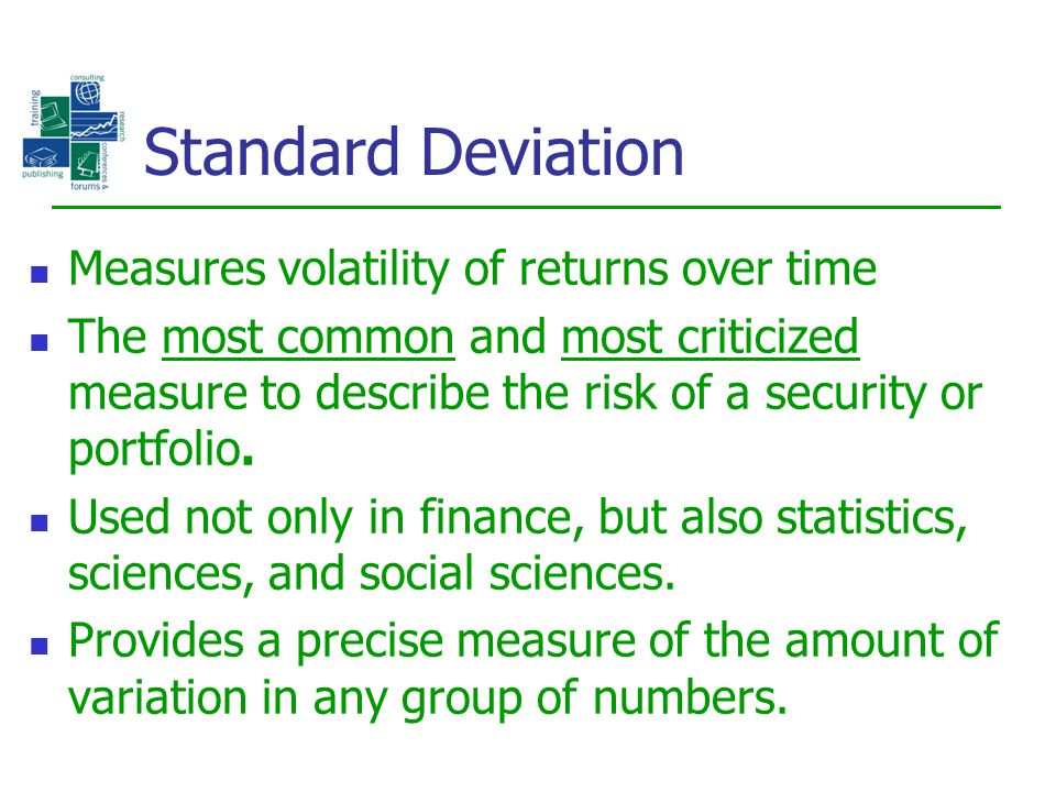 Standard Deviation Measures volatility of returns over time