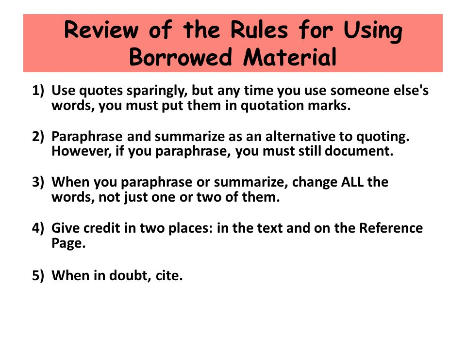 Review of the Rules for Using Borrowed Material