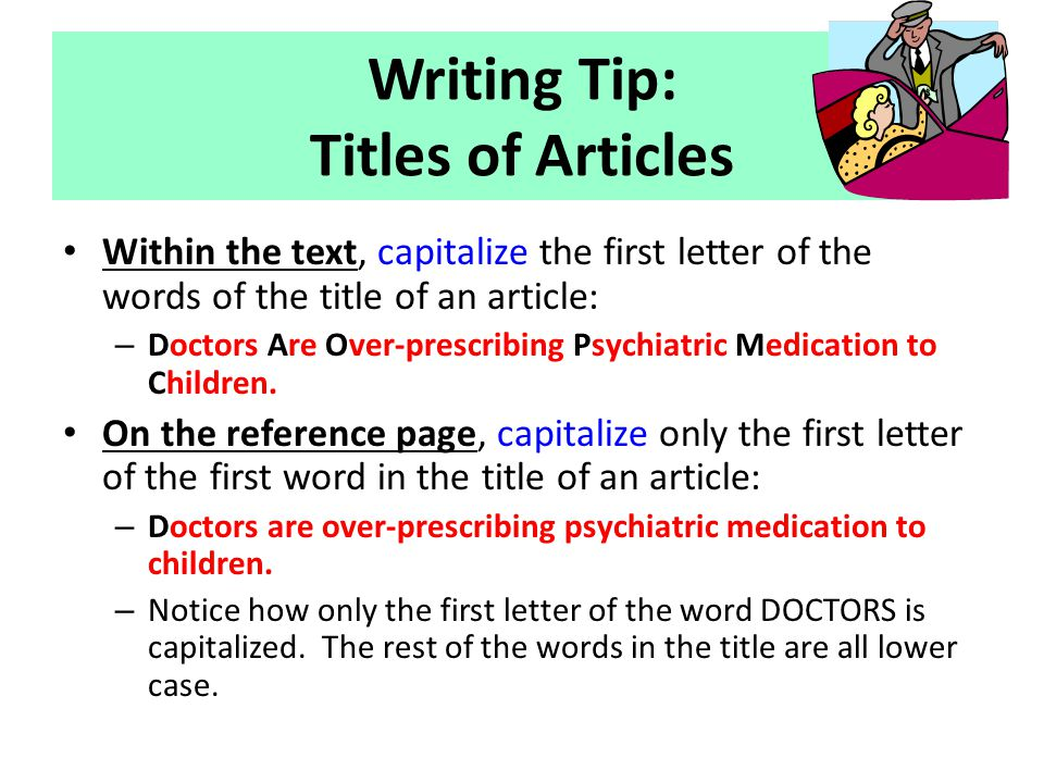 Writing Tip: Titles of Articles