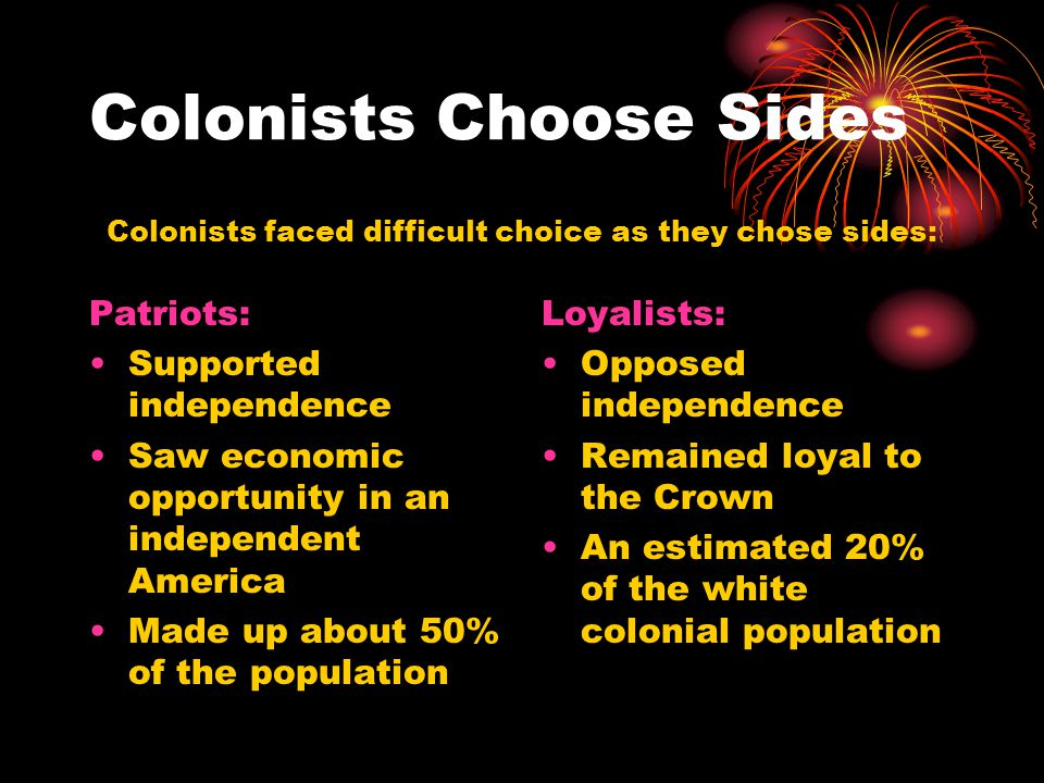 Colonists Choose Sides