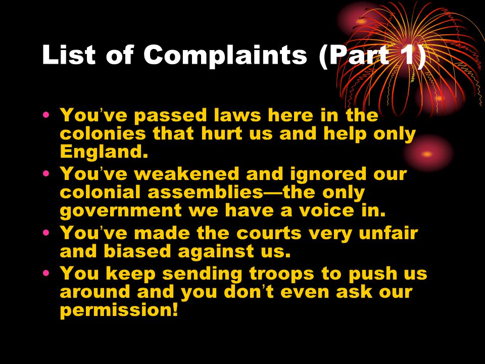List of Complaints (Part 1)