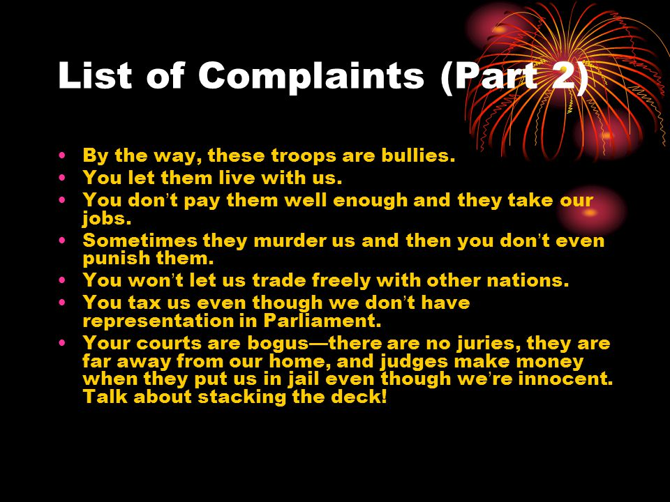 List of Complaints (Part 2)