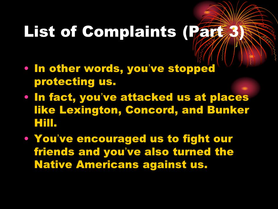 List of Complaints (Part 3)