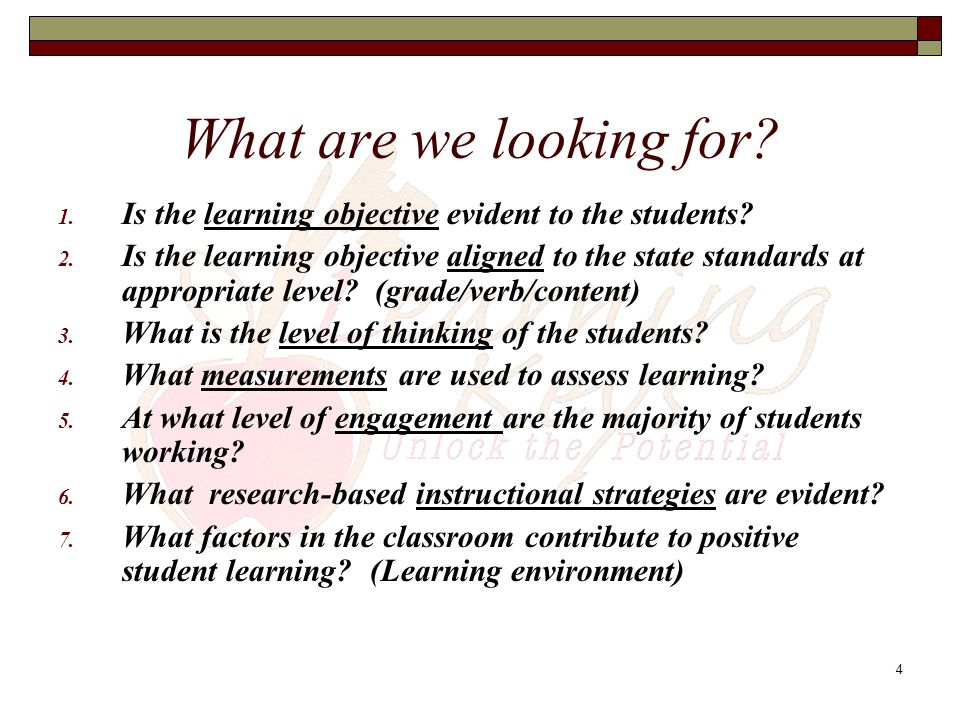 What are we looking for Is the learning objective evident to the students