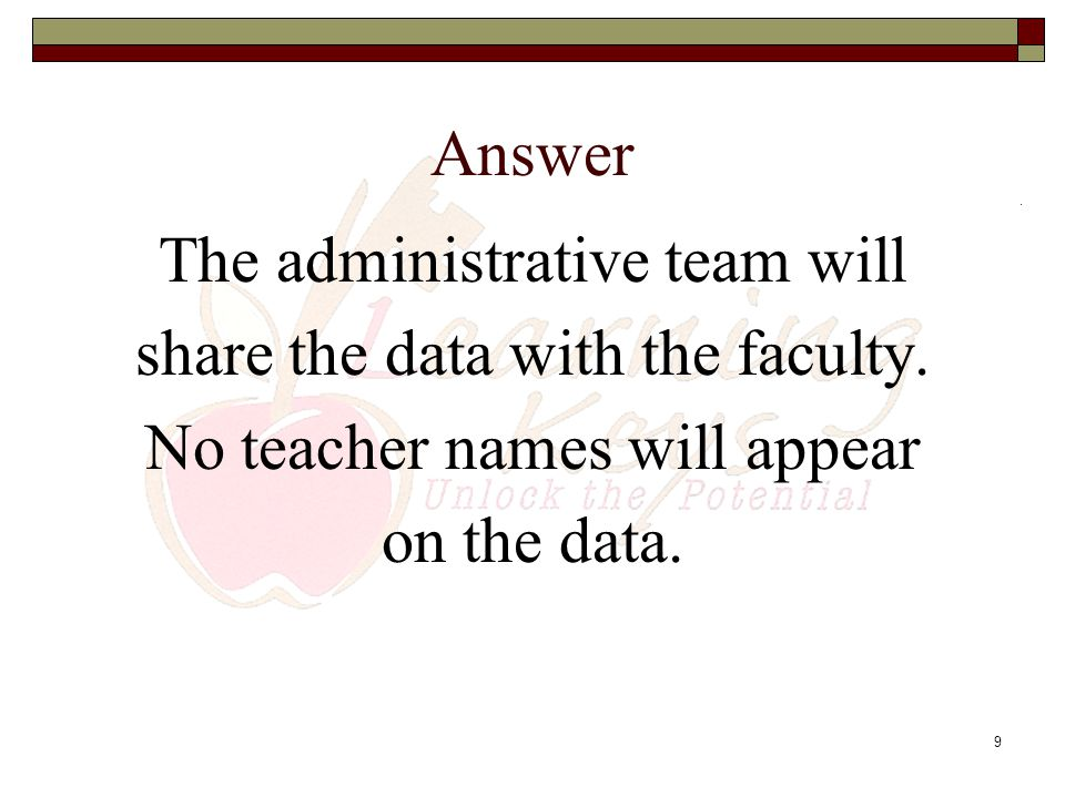 The administrative team will share the data with the faculty.