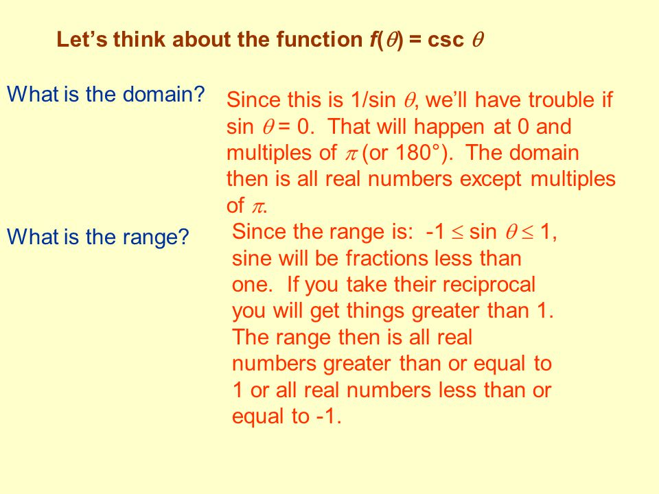 Let's think about the function f() = csc 