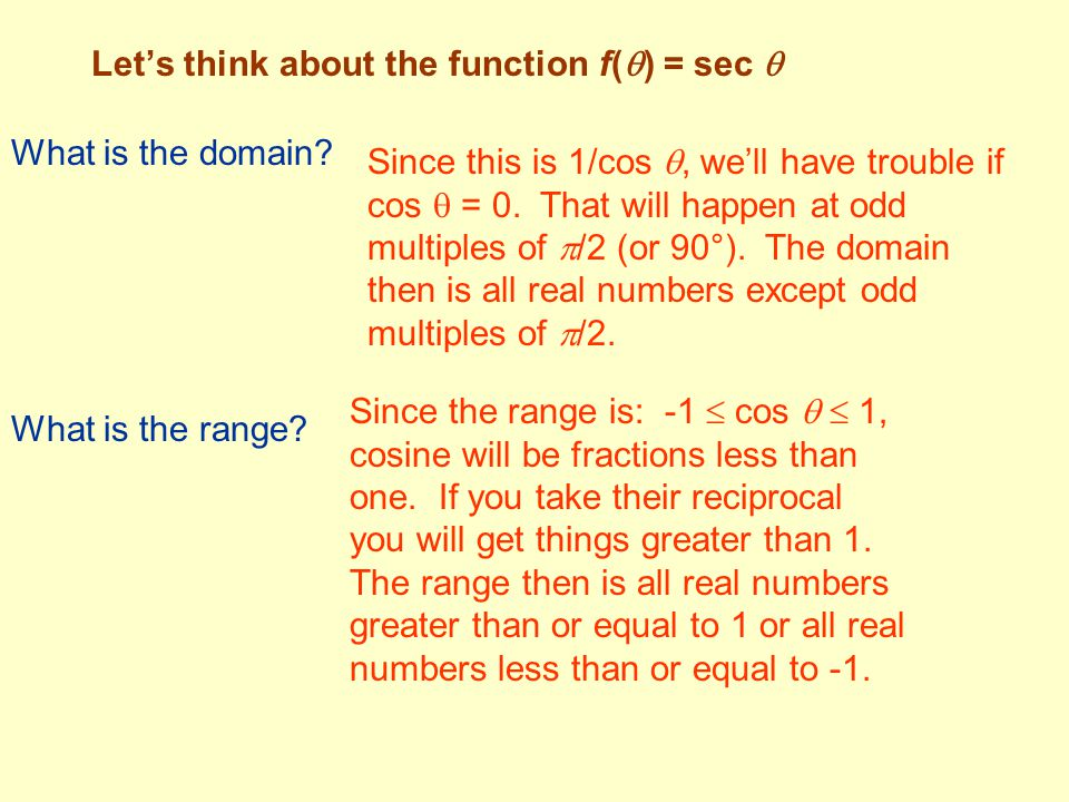 Let's think about the function f() = sec 