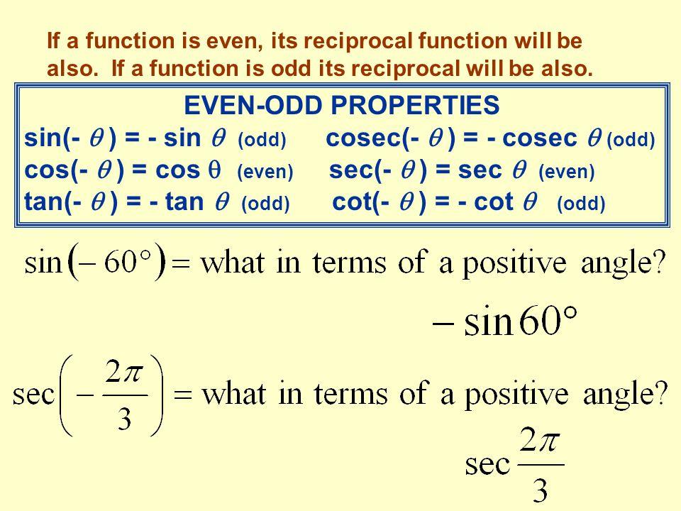 sin(-  ) = - sin  (odd) cosec(-  ) = - cosec  (odd)