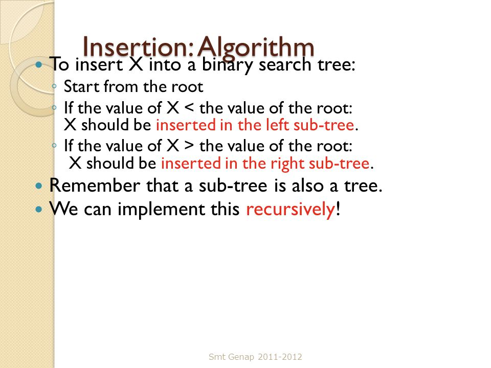 Insertion: Algorithm To insert X into a binary search tree: