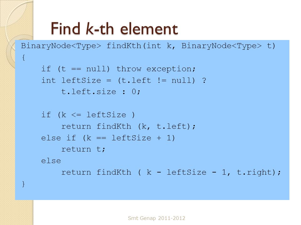Find k-th element