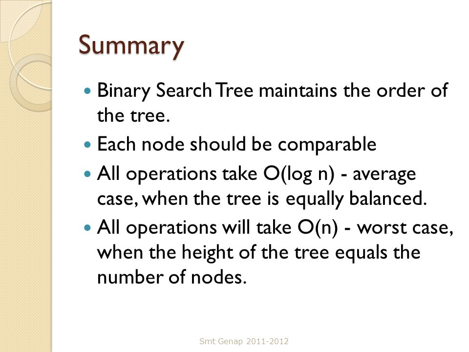 Summary Binary Search Tree maintains the order of the tree.