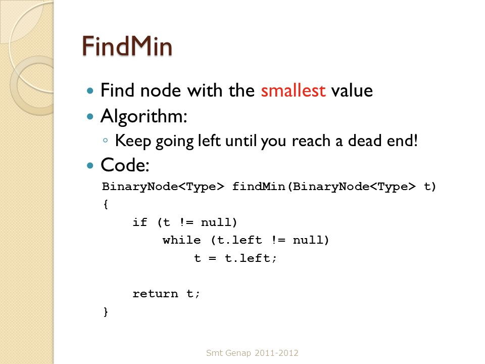 FindMin Find node with the smallest value Algorithm: Code: