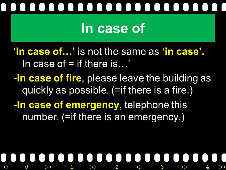 In case of 'In case of…' is not the same as 'in case'. In case of = if there is…'