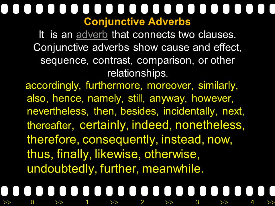 Conjunctive Adverbs It is an adverb that connects two clauses