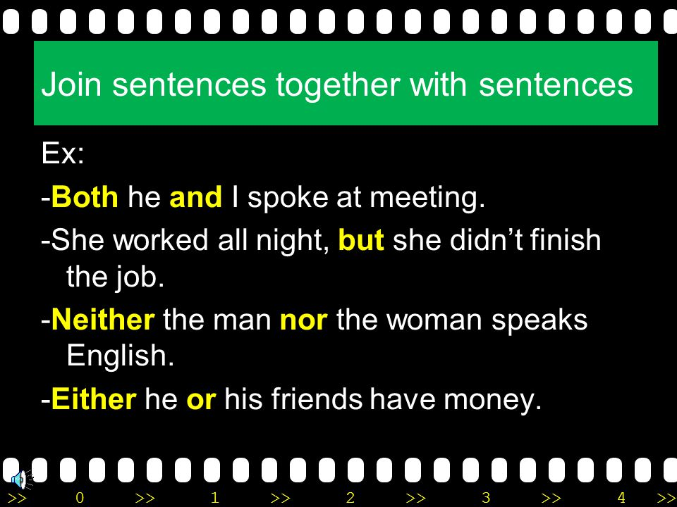 Join sentences together with sentences