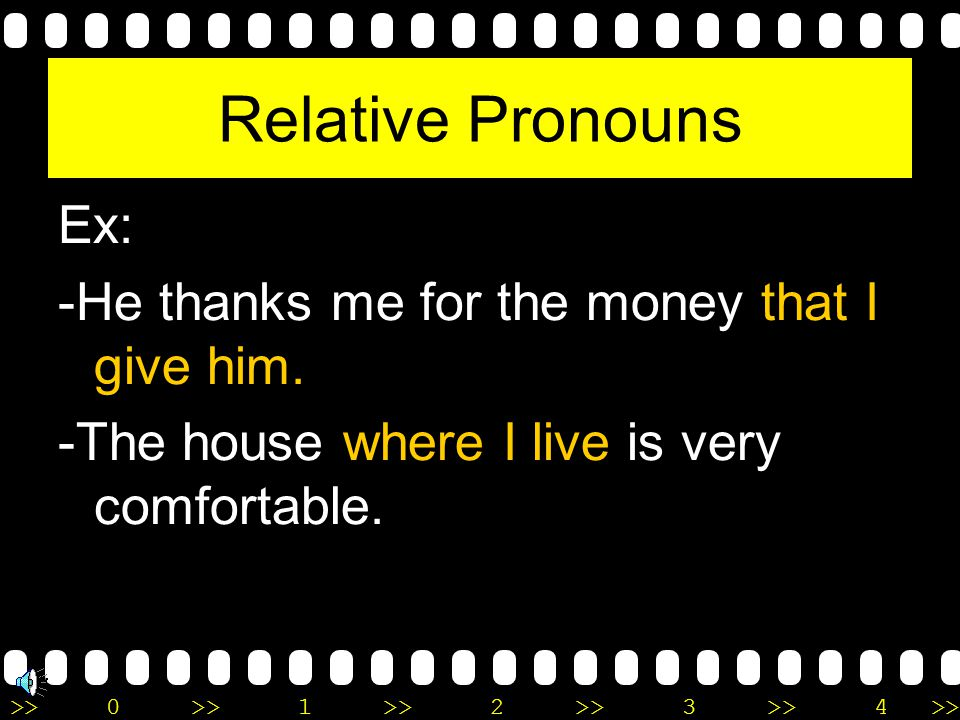Relative Pronouns Ex: -He thanks me for the money that I give him.