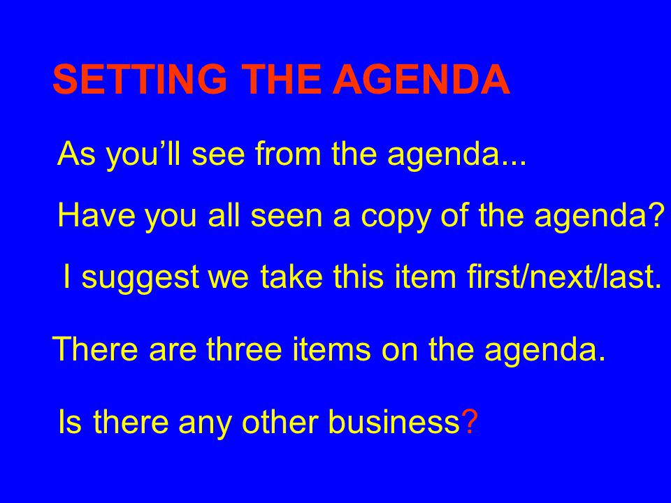 SETTING THE AGENDA As you'll see from the agenda...