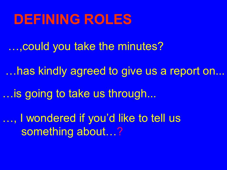 DEFINING ROLES …,could you take the minutes
