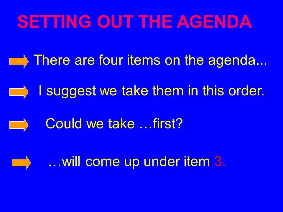 SETTING OUT THE AGENDA There are four items on the agenda...