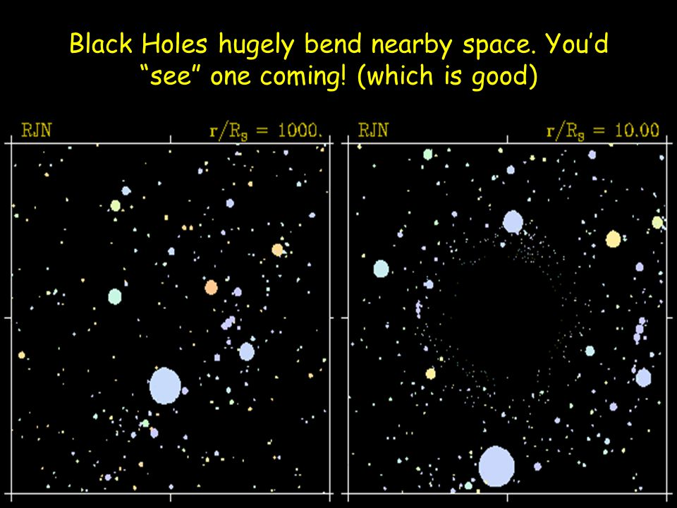 Black Holes hugely bend nearby space. You'd see one coming