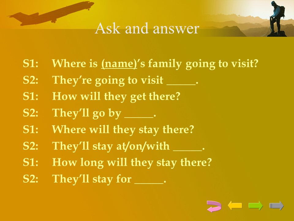 Ask and answer S1: Where is (name)'s family going to visit