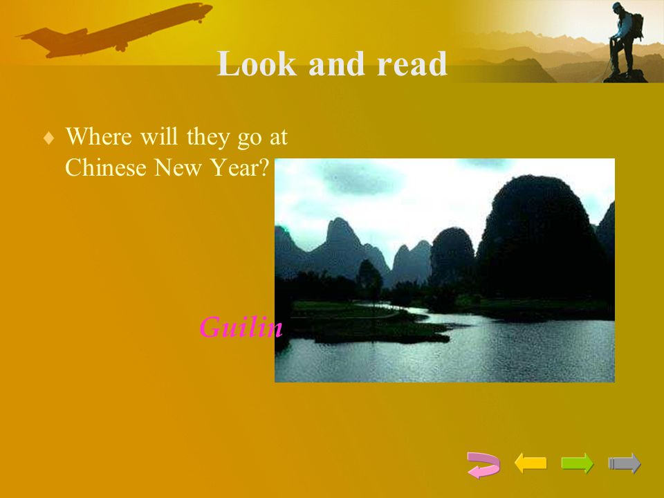 Look and read Where will they go at Chinese New Year Guilin