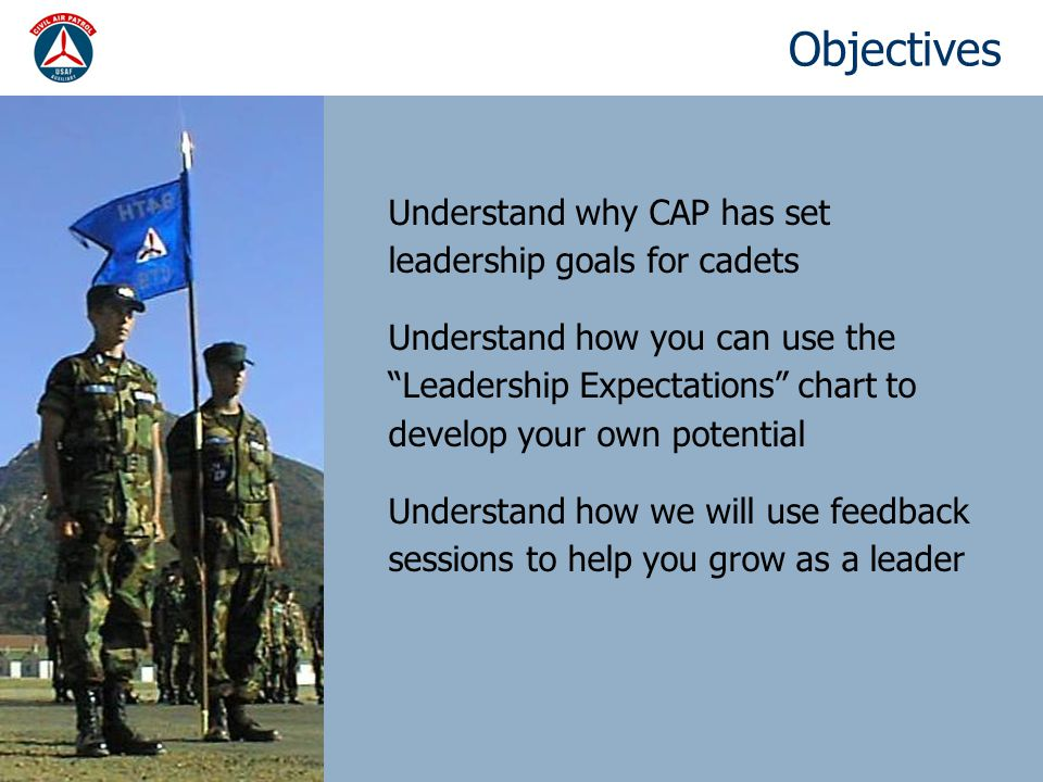 Objectives Understand why CAP has set leadership goals for cadets