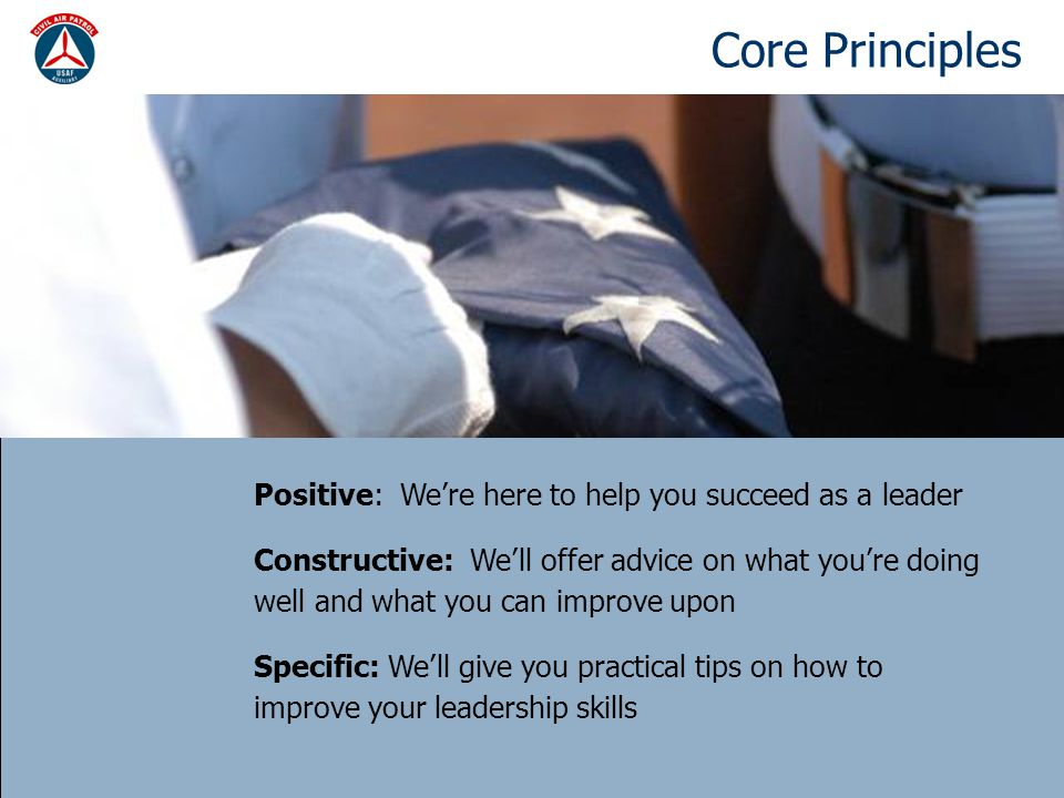 Core Principles Positive: We're here to help you succeed as a leader