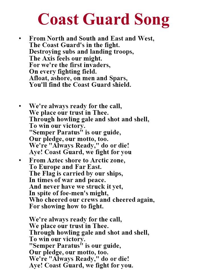 Coast Guard Song