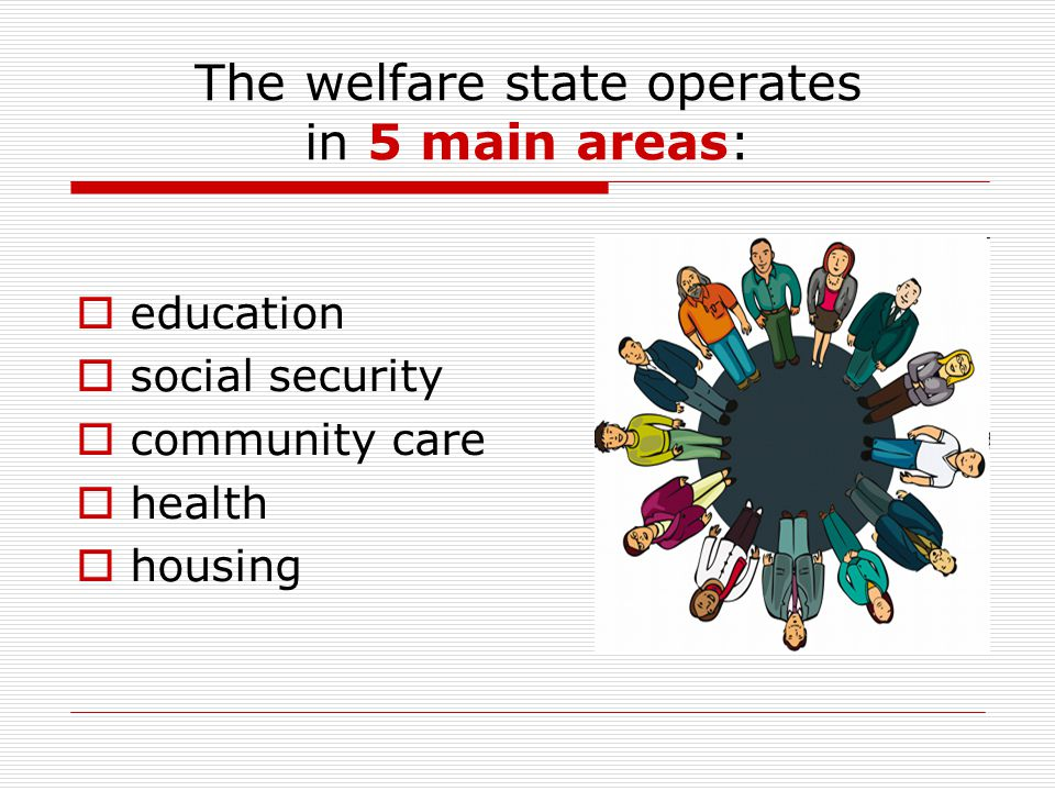 The welfare state operates in 5 main areas: