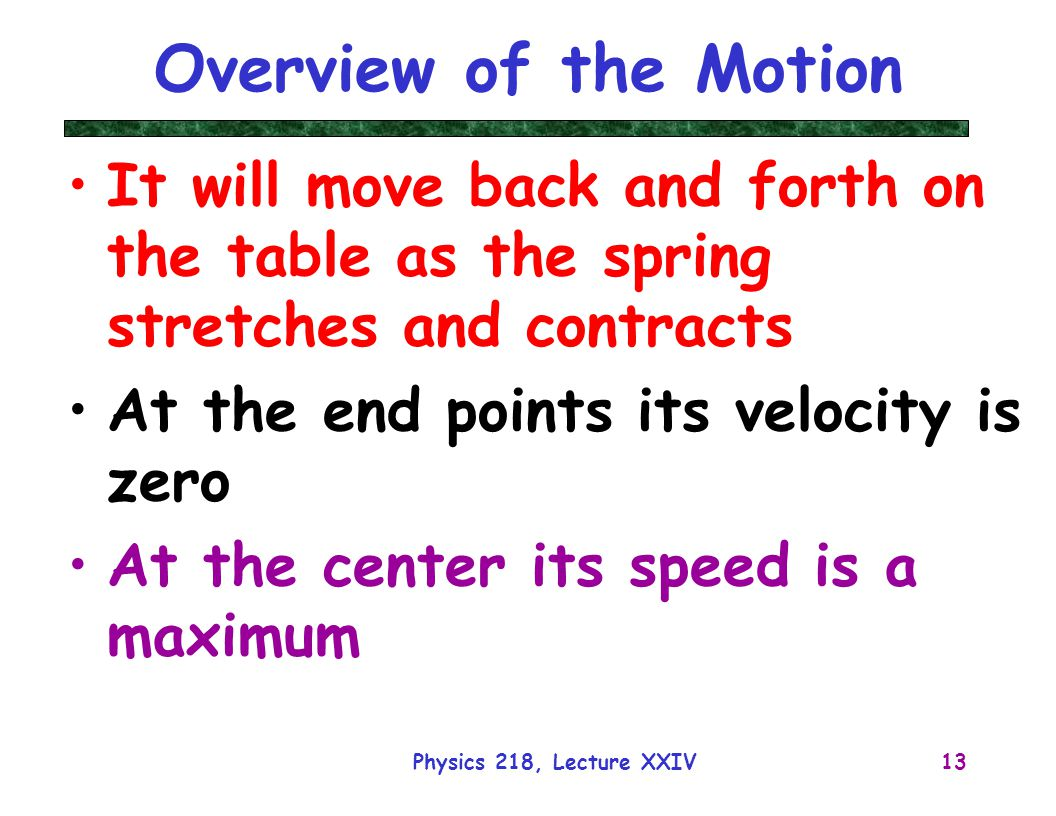 Overview of the Motion It will move back and forth on the table as the spring stretches and contracts.