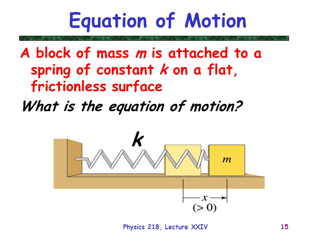 Equation of Motion A block of mass m is attached to a spring of constant k on a flat, frictionless surface.