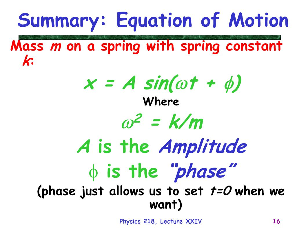 Summary: Equation of Motion