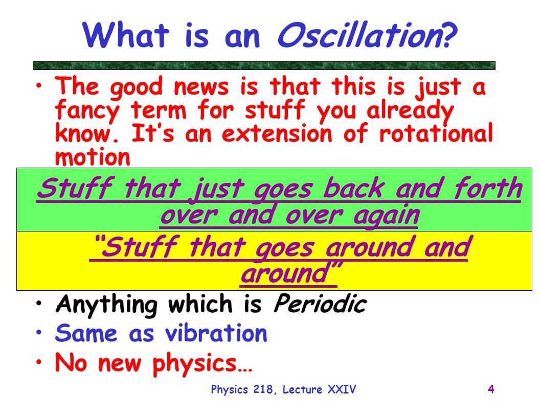 What is an Oscillation The good news is that this is just a fancy term for stuff you already know. It's an extension of rotational motion.
