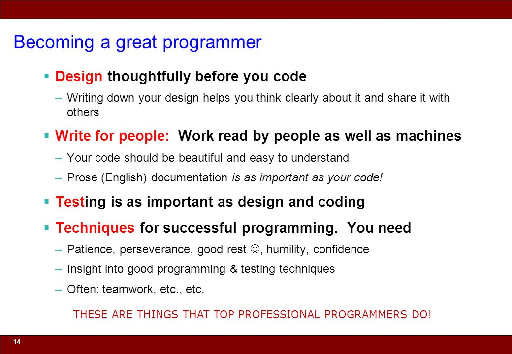 Becoming a great programmer