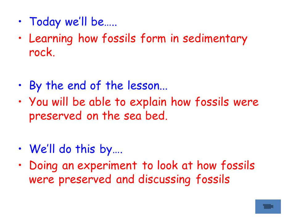 Today we'll be….. Learning how fossils form in sedimentary rock. By the end of the lesson...