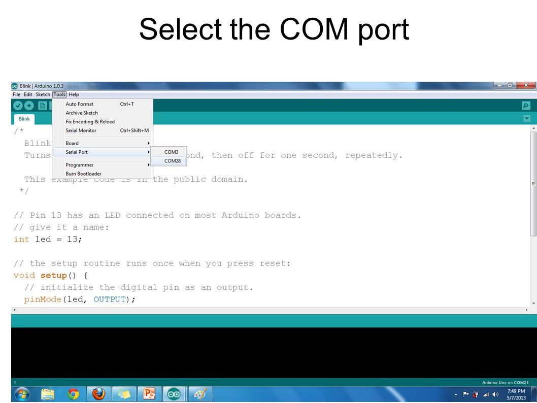 Select the COM port