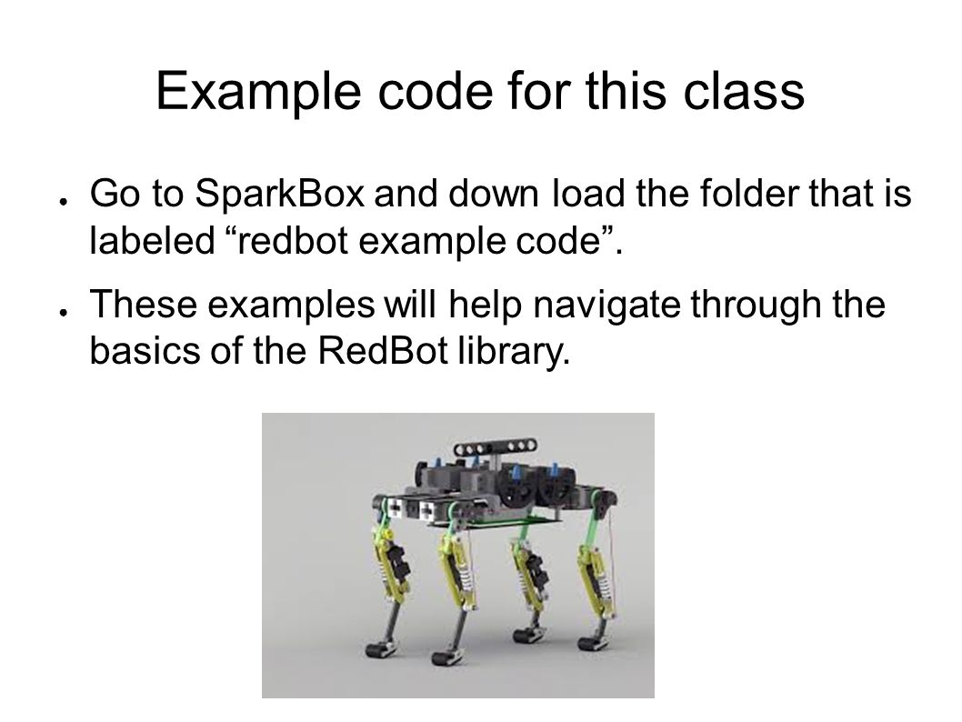 Example code for this class