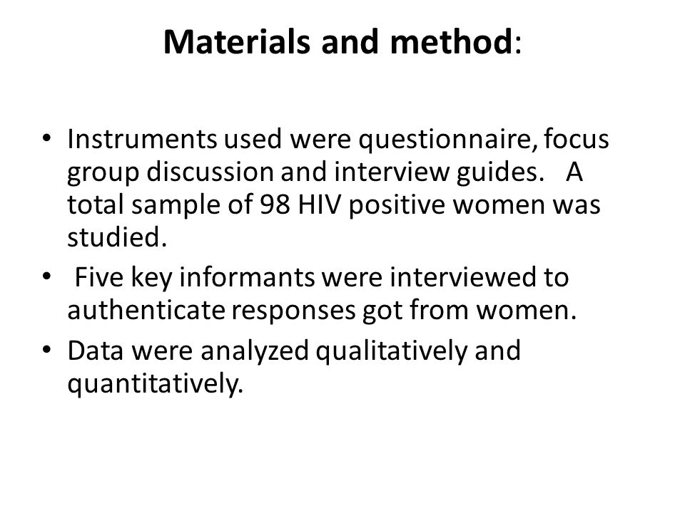 Materials and method: