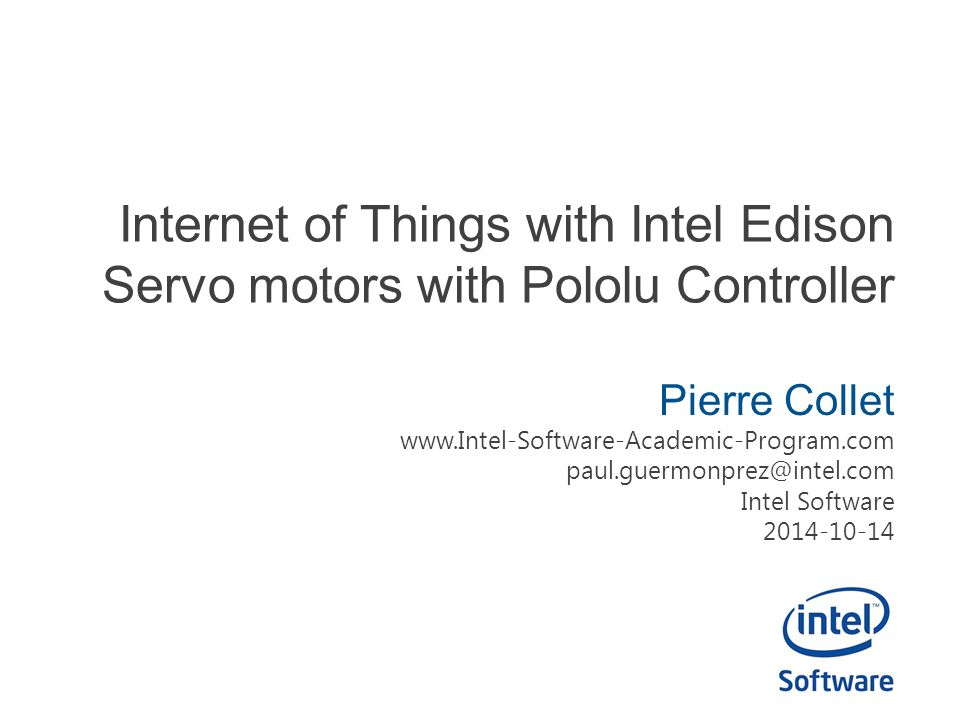 Internet of Things with Intel Edison Servo motors with Pololu Controller