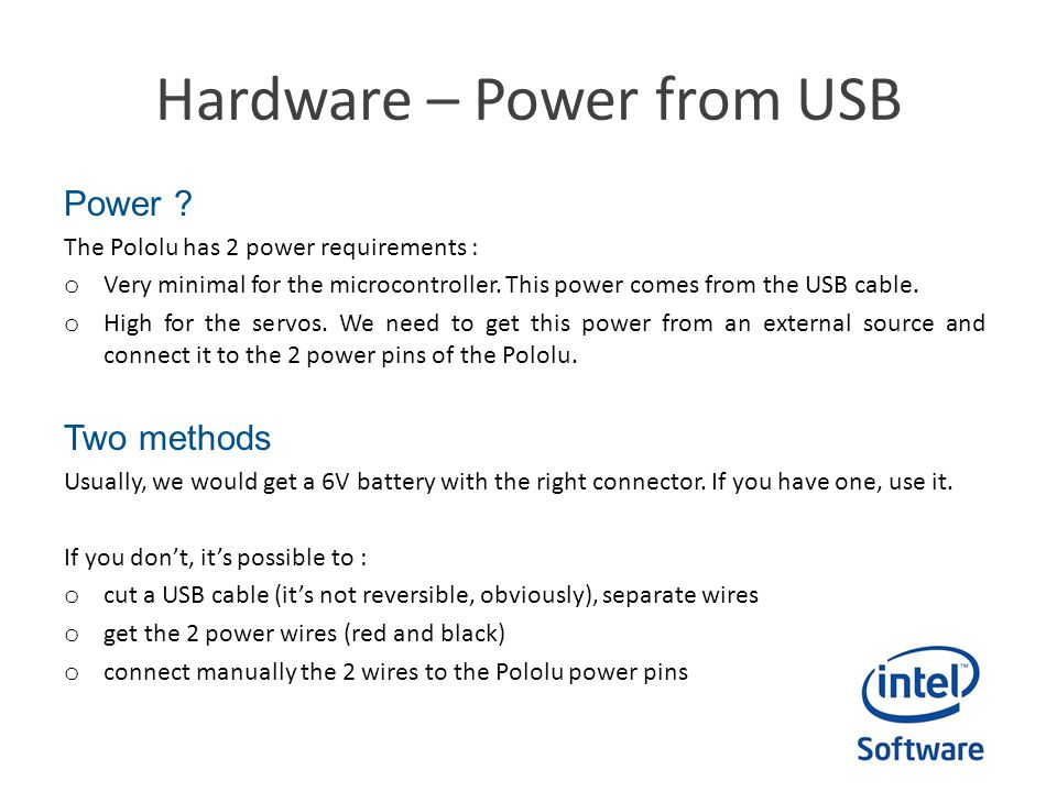 Hardware – Power from USB