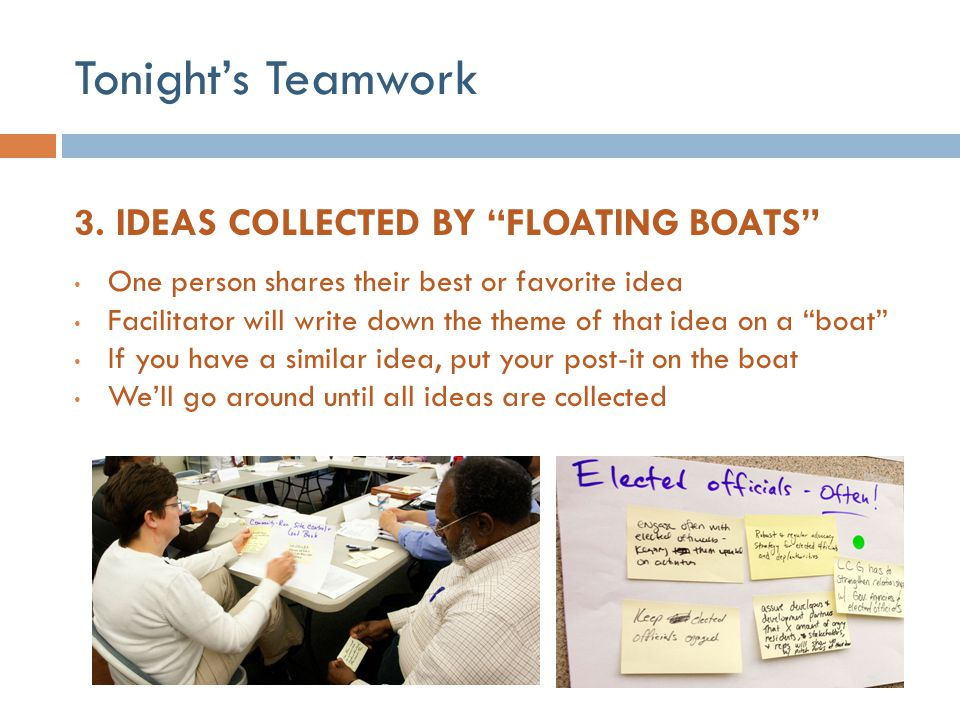 Tonight's Teamwork 3. IDEAS COLLECTED BY FLOATING BOATS