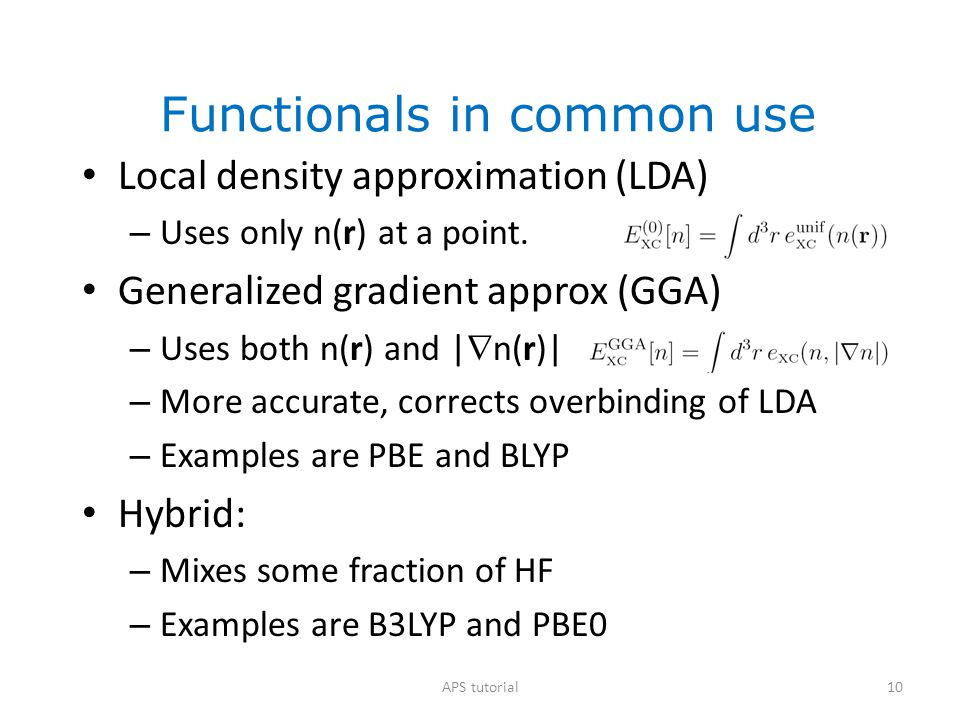 Functionals in common use