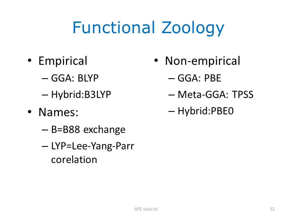 Functional Zoology Empirical Names: Non-empirical GGA: BLYP