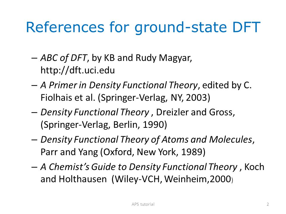 References for ground-state DFT