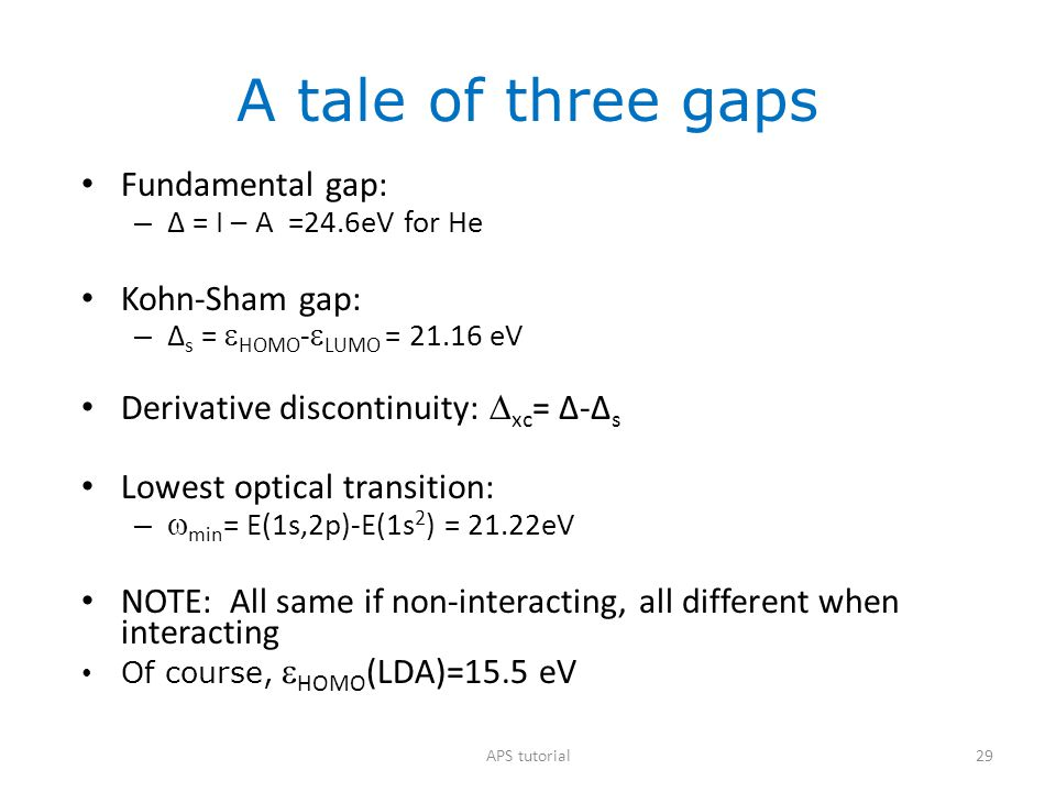 A tale of three gaps Fundamental gap: Kohn-Sham gap:
