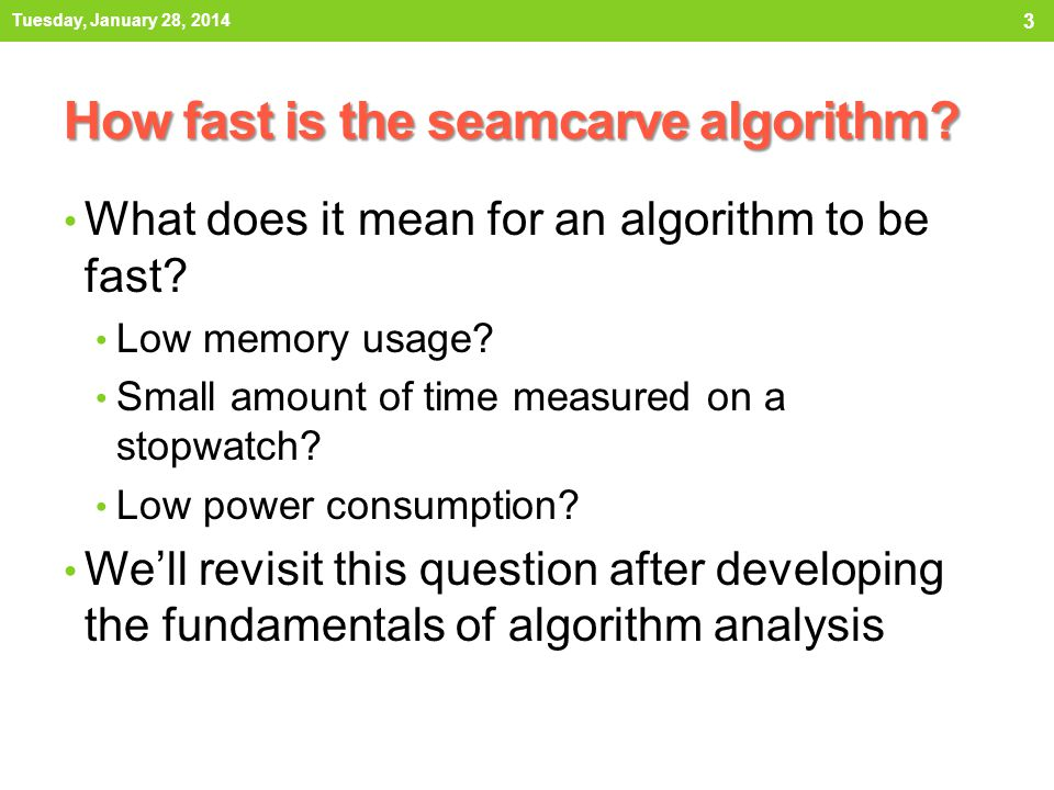 How fast is the seamcarve algorithm