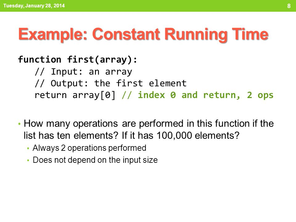 Example: Constant Running Time