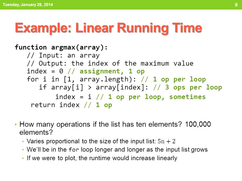 Example: Linear Running Time
