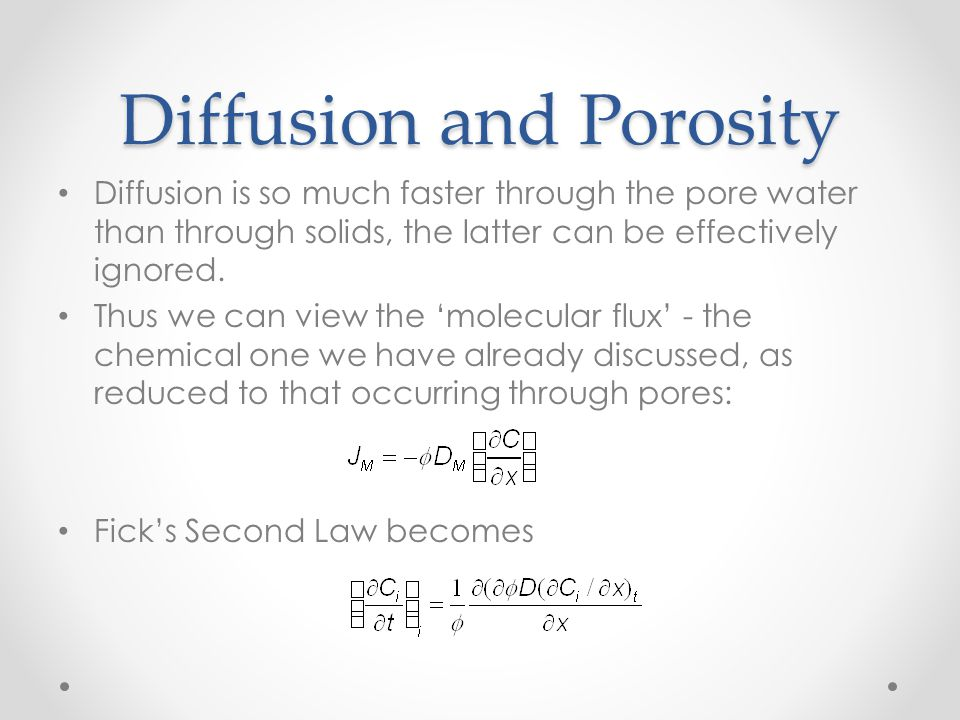 Diffusion and Porosity
